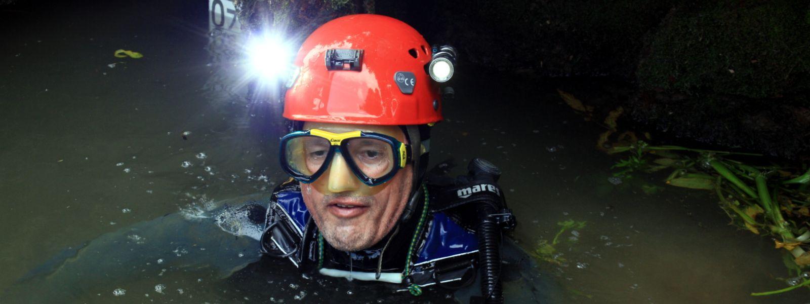Plongée souterraine à la fontaine bouillonnante d'Exoudun le 7 juillet 2018